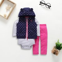 Casual 3-piece Striped Bodysuit, Bear Design Dotted Vest and Pants Set