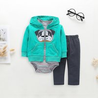 Casual 3-piece Dog Embroidered Hooded Jacket Striped Bodysuit and Pants for Baby