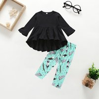 2-piece Baby/ Toddler Girl's Ruffled Top and Feather Pattern Pants
