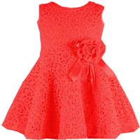 Elegant Floral Accented A-line Lace Dress for Girls