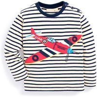 Cool Appliqued Airplane Striped Long-sleeve Pullover for Baby Boy