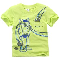 Cool Robot Printed Short Sleeve Cotton T-Shirt in Green for Baby and Toddler Boys