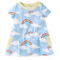 Colorful Rainbow Print Short-sleeve Dress for Girl