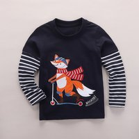 Playful Fox Print Faux-two Long Sleeves Top for Boys