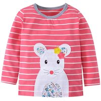 Adorable Mouse Applique Long Sleeve Striped T-shirt for Baby Girl and Girl