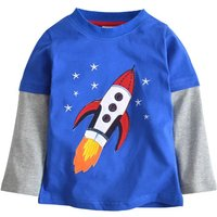 Lovely Faux-two Appliqued Rocket& Star Long-sleeve T-shirt for Baby Boy