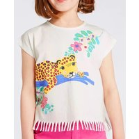 Cute Cartoon Leopard and Flower Print Short-sleeve Tee for Toddler Girl and Girl