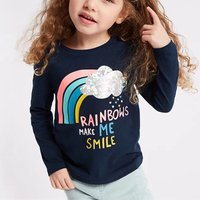 Stylish Rainbow Print Long-sleeve T-shirt for Toddler Girl and Girl