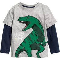Cool Faux-two Dino Print Long-sleeve T-shirt for Toddler Boy and Boy