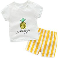 Lovely 2-piece  Pineapple Print T-shirt and Striped Shorts for Toddlers