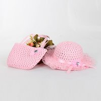 Pretty Lace Flower Decor Hollow Out Hat and Bag Set for Baby Girl