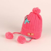 Adorable Knitted Letter A Applique Fleece-lining Hat ( without pompom )