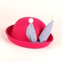 Cute Striped Rabbit Ear Design Pompom Decor Bowler Hat