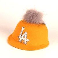 Fashionable Rhinestone and Fur Decor Woolen Cap
