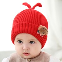 Lovely Knitted Plush Dog Decor Ribbed Hat for Baby
