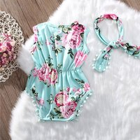 2-piece Pretty Tassel Floral Sleeveless Bodysuit and Headband Set for Baby Girl