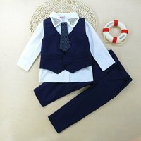 4-piece Gentle Long Sleeves Shirt Solid Vest Pant and Dotted Tie for Boys