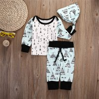 3-piece Lovely Arrow Print T-shirt and Pants and Hat Set for Baby