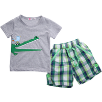 2-piece Crocodile and Bird Applique Tee and Plaid Shorts for Boys