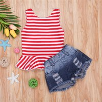 Baby and Toddle Girl's Stylish Striped Tank Top and Ripped Denim Shorts Set