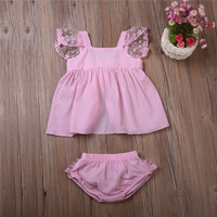 2-piece Sweet Lace Sleeves Top and PP Shorts for Baby Girl