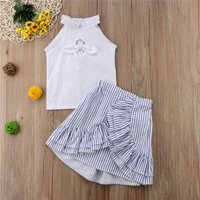 Chic Bowknot Front Sleeveless Top and Ruffled Striped Skirt Set for Toddler Girl