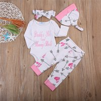 4-piece Letter Bodysuit Arrow Print Pants Hat and Headband for Baby Girl