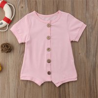 Comfy Solid Short-sleeve Romper for Baby