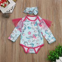 Pretty Unicorn Patterned Long-sleeve Romper and Headband Set for Baby Girl