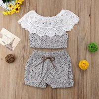 Baby Girl'a Chic Lace Collar Floral Top and Shorts Set