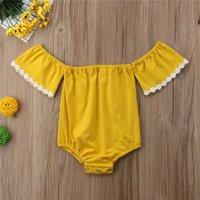 Lovely Yellow Off Shoulder Short Sleeves Bodysuit for Baby Girl