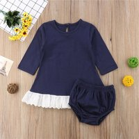 Comfy Hollow Out Hem Long-sleeve Dress and Shorts Set for Baby Girl