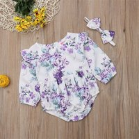 Sweet Allover Floral Ruffled Long-sleeve Bodysuit and Headband for Baby