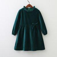 Trendy Solid Ruffled Long-sleeve Dress for Girl