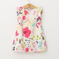 Toddler Girl's Round Collar Colorful Floral Dress