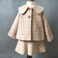Sassy Plaid Heart Embroidery Coat and Strap Dress Set for Toddler Girl and Girl
