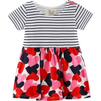 Sweet Love Pattern Striped Short-sleeve Baby and Toddler Dress
