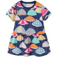 Toddler Girl's Pretty Umbrella Pattern Short Sleeves Dress