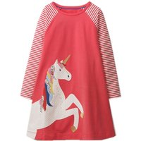 Stylish Striped Unicorn Applique Long-sleeve Dress for Baby and Toddler Girl