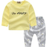 Stylish Letter Print Long-sleeve Top and Giraffe Patterned Pants Set for Baby Girl