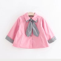 Sweet Solid Coat with Bowknot Decor for Baby Girl