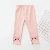 Cute Cat Embroidery Bowknot Decor Leggings for Baby Girls