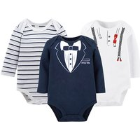 3-pack Comfy  Stripes Printed Long Sleeves Bodysuits for Baby Boy