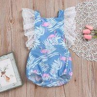 Lovely Leaf Print Backless Ruffled Cap-sleeve Bodysuit in Blue for Baby and Toddler Girl
