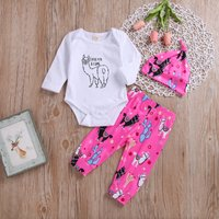 Cute Letter Print Long-sleeve Bodysuit, Alpaca Patterned Pants and Hat for Baby Girl