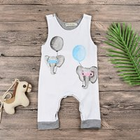 Cute Elephant and Balloon Print Sleeveless Jumpsuit in White for Baby Boy