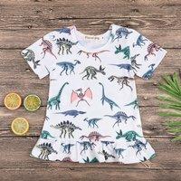 Colorful Dinosaur Fossil Pattern Frill Hem Dress for Baby Girl
