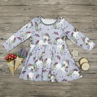 Stylish Unicorn Allover Long-sleeve Dress for Baby and Toddler Girl