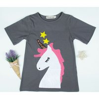 Stylish Appliqued Unicorn Half-sleeve Dress for Baby and Toddler Girl