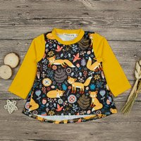 Cute Fox and Bird Print Long-sleeve Dress for Baby and Toddler Girl